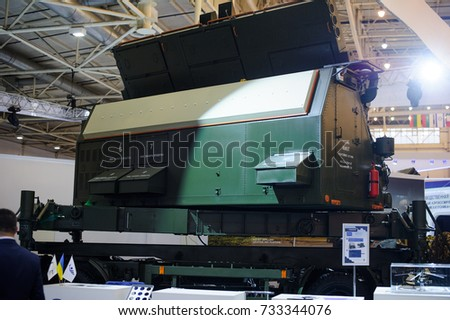 Kiev, Ukraine - October 12, 2017: military radar installation of ukraine at the exhibition