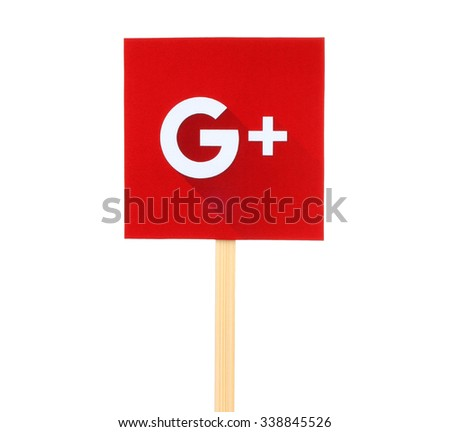 Kiev, Ukraine - October 07, 2015: New Google Plus logo sign printed on paper, cut and pasted on wooden stick. Google is USA multinational corporation. - stock photo