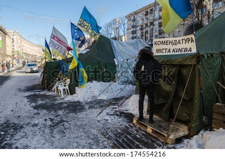 KIEV, UKRAINE ON 31 JANUARY 2014: Maidan protests on 31 January 2014 in Kiev, Ukraine