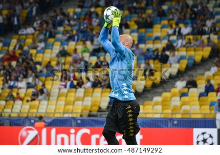 Kiev, UKRAINE - SEP 13, 2016: Pepe Reina during the UEFA Champions League match between Dynamo Kiev vs SSC Napoli, NSC Olympic stadium, 13 September 2016, Ukraine