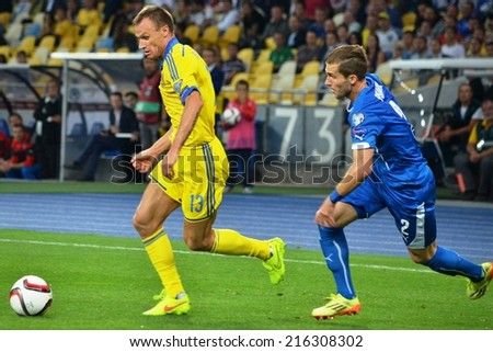 KIEV, UKRAINE - SEP 8: Peter Pekarik (R) against Shevchuk (L) during the match Ukraine 0-1 Slovakia UEFA Euro 2016 qualifier match at the Olympic stadium, 8 September 2014, Kiev, Ukraine