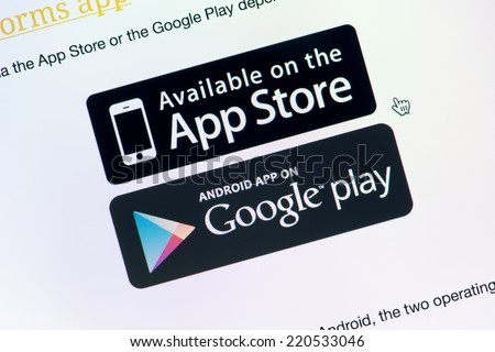 Kiev, Ukraine - September 24, 2014: Close-up shot of monitor screen with App Store and Google Play download buttons for downloading chosen application. - stock photo