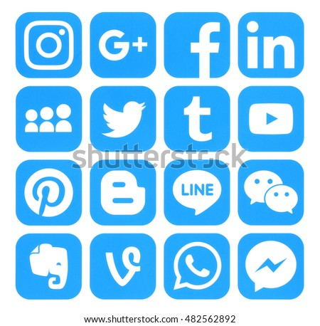 Kiev, Ukraine - September 06, 2016: Collection of popular blue social media icons printed on paper:Facebook, Twitter, Google Plus, Instagram, Pinterest, LinkedIn, Blogger, Tumblr and others