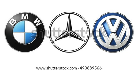 "Kiev, Ukraine - September 21, 2016: Collection of popular German car logos, called ""Big Three"", printed on white paper: Mercedes, BMW and Volkswagen."