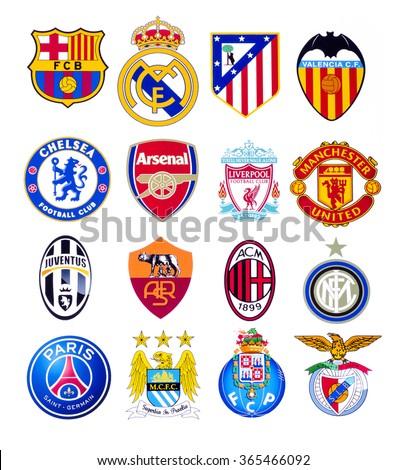 KIEV, UKRAINE - SEPTEMBER 22, 2015: European football clubs logo printed on paper. - stock photo