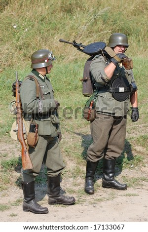 KIEV ,UKRAINE. September 5-6 , 2008. Military history club  Red Star. Historical military reenacting. Kiev  occupation by german troops at WWII tine. Battle for defense line of Stalin.