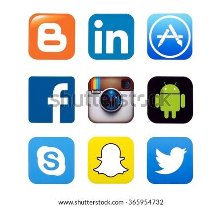 KIEV, UKRAINE - SEPTEMBER 22, 2015: Set of most popular social media icons: Twitter,linkedin, Instagram, Facebook, Skype, Blogger  Snapchat, and others printed on paper. - stock photo
