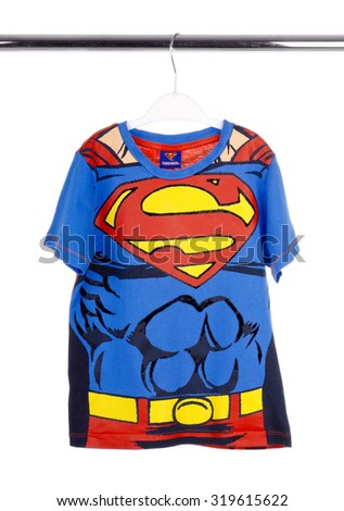 KIEV, UKRAINE - SEPTEMBER 20, 2015: T-shirt with the logo of Spider-Man on white background. Superman-Superhero comics, which are produced by DC Comics.