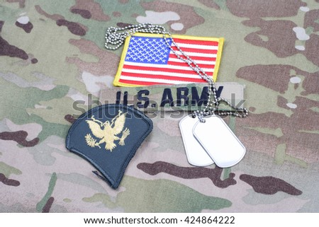 KIEV, UKRAINE - September 5, 2015. US ARMY Specialist rank patch, flag patch, with dog tag on camouflage uniform