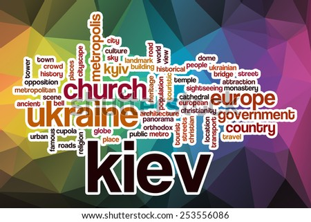 Kiev word cloud concept with abstract background - stock photo