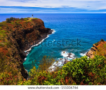 Kilauea lighthouse bay on a sunny day in Kauai, Hawaii Islands. - stock photo