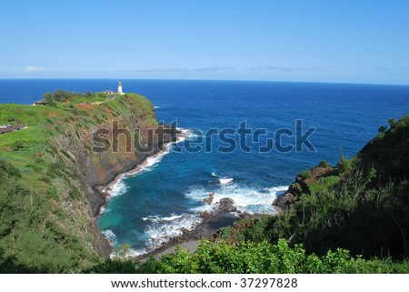 Kilauea Lighthouse on Kauai, Hawaii. - stock photo