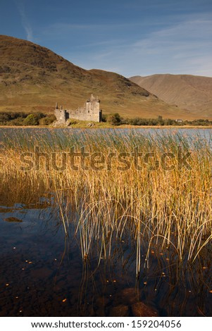 Kilchurn Castle, near Dalmally, Argyll and Bute, Scotland is a ruined tower house built in the 15th century on the shores of Loch Awe by the Clan Campbell. - stock photo