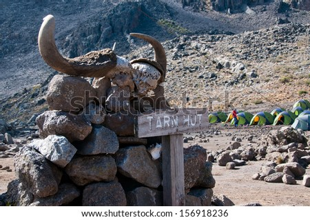 Kilimanjaro camp site at Mawenzi Tarn - stock photo