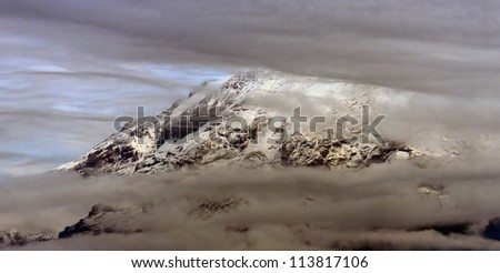 Kilimanjaro on a cloudy day - Tanzania, Easten Africa - stock photo