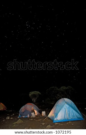 kilimanjaro 007 shira hut camp tent night view - stock photo