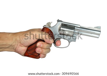 Killer holding a gun ready for shoot isolated on white background
