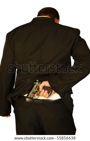 Killer pulls his gun - stock photo