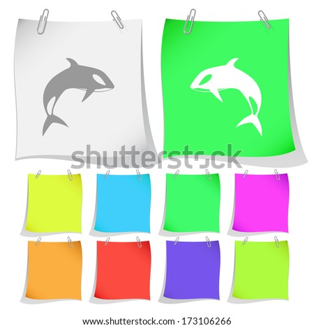 Killer whale. Raster note papers. Vector version is in portfolio. - stock photo