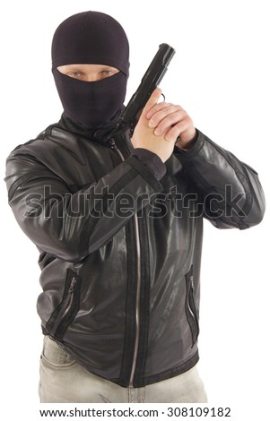 killer with gun isolated on white background - stock photo