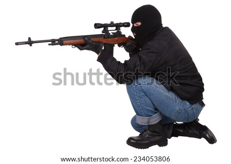 killer with sniper rifle isolated on white background - stock photo