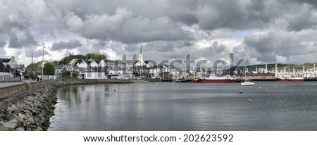 Killybegs is the most important fishing port in Ireland, and its harbour is often full with trawlers. - stock photo