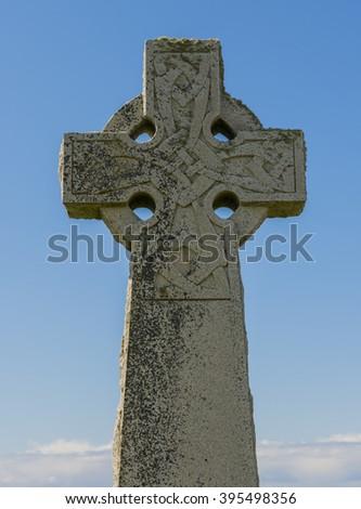 Kilmuir graveyard with Celtic Cross near  the Skye Museum of Island Life, Scotland. - stock photo