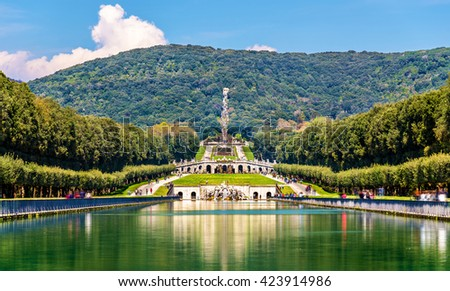 Kilometers-long promenade along cascades at the Palace of Caserta, Italy - stock photo