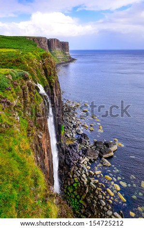Kilt rock coastline cliff in Scottish highlands, Scotland, United Kingdom - stock photo