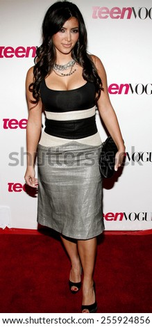 Kim Kardashian attends the Teen Vogue Young Hollywood Party held at the Sunset Tower Hotel in Hollywood, California on September 21, 2006.  - stock photo