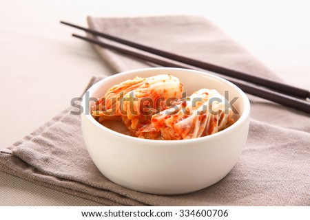 kimchi with Chopsticks, korean food - stock photo