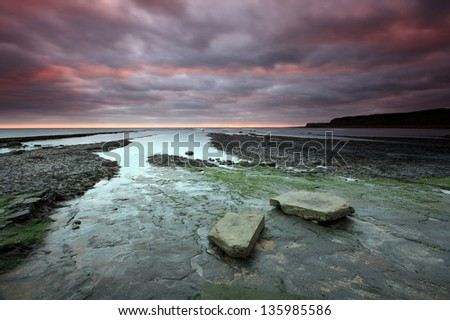 kimmeridge bay dorset on the english south coast - stock photo