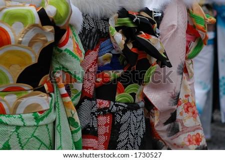 kimono fabrics - stock photo