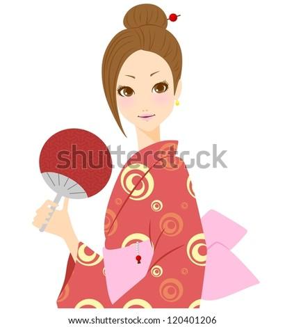 Kimono women yukata - stock photo