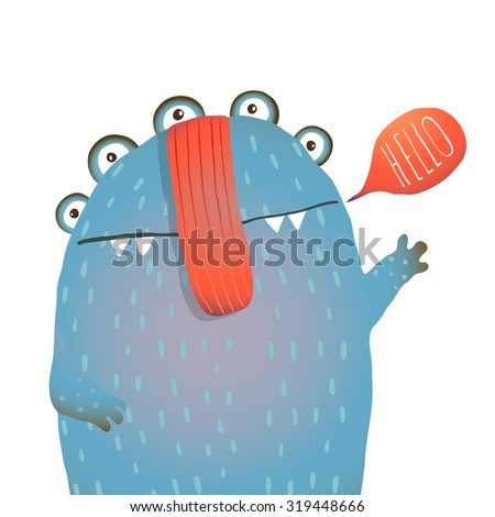 Kind and Cute Funny Monster Saying Hello Waving. Colorful hand drawn illustration for kids of cute creature. Raster variant. - stock photo