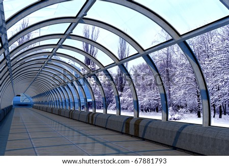 Kind of a winter landscape in the window of a modern building. - stock photo