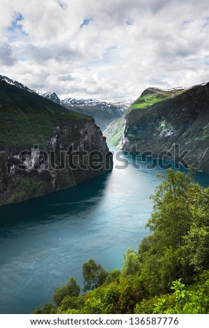Kind on a fjord from above, Norway - stock photo