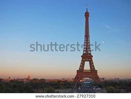 Kind on Eiffel Tower during a decline - stock photo
