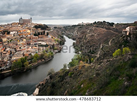 Kind on the river Tagus and a city of Toledo - former capital of Spain.