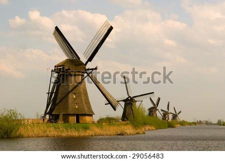 Kinderdijk Windmill - stock photo