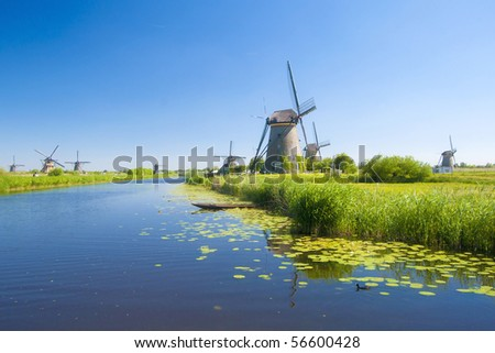Kinderdijk windmills 1 - stock photo