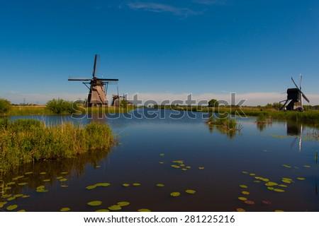 Kinderdijk windmills Holland - stock photo