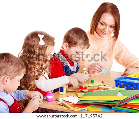 Kindergarden teacher with group children. Isolated . - stock photo