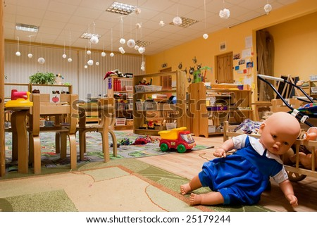 Kindergarten class room without kids. - stock photo