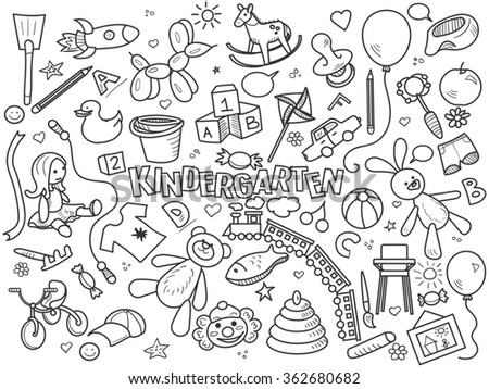 Kindergarten design colorless set raster illustration. Coloring book. Black and white line art
