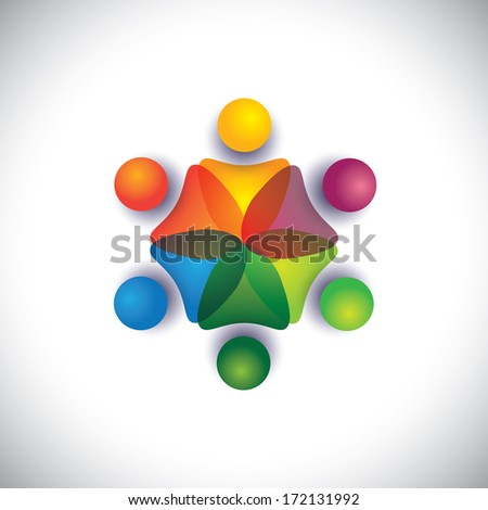 kindergarten pre school kids & children playing together. The graphic can also represent employees unity, workers union, executives meeting, friendship, team work & team spirit - stock photo