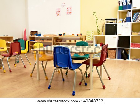 Kindergarten Preschool Classroom Interior - stock photo
