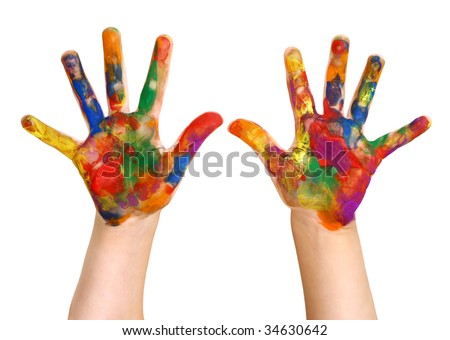 Kindergartner Rainbow Hand Painting Painted Hands - stock photo