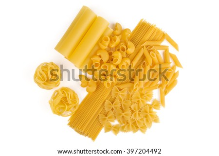 Kinds of pasta. Macaroni. Dry, yellow. Diversity. Isolated on white