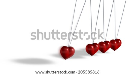 Kinetic toy with heart shaped objects, 3d rendering on white background - stock photo
